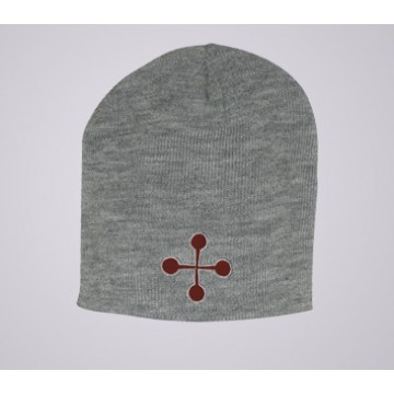 Red Cross Pommele Knit Beanie